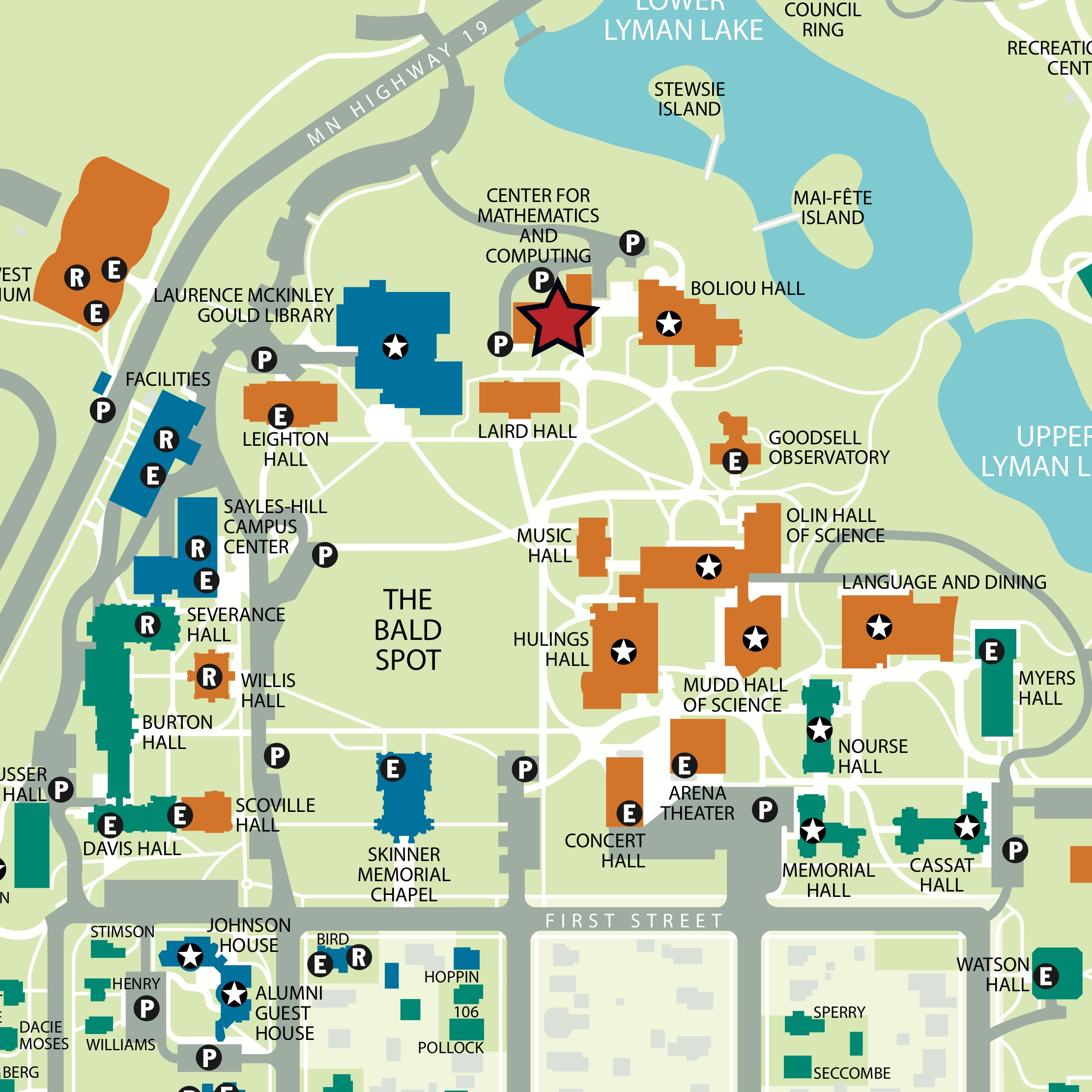Carleton College Campus Map | World Map Gray