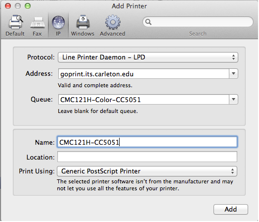 Replace CMC121H With The Actual Name Of Printer I Also Set Queue To Be Color Option Even Though Mac Doesnt Care