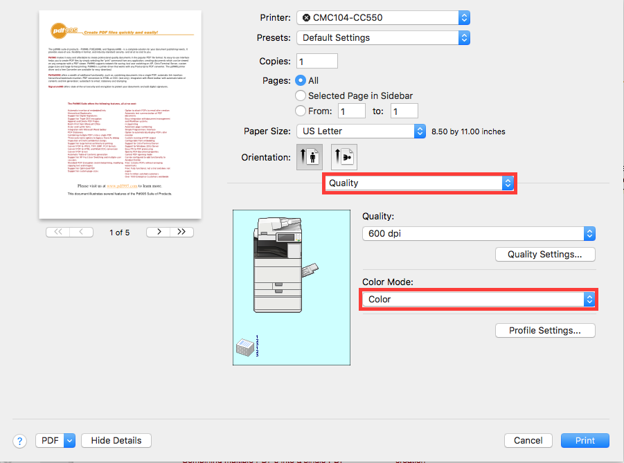 Black-and-White/Color Printing for Canon Printers (Mac