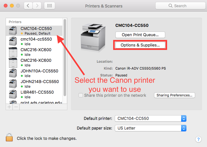 Enable Staple Option for Canon Printers (Mac) - ITS