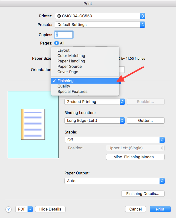 Enable Staple Option for Canon Printers (Mac) - ITS - Carlpedia